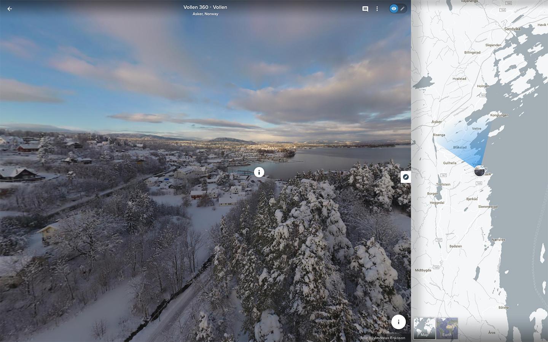 360 grader interaktiv panorama med drone